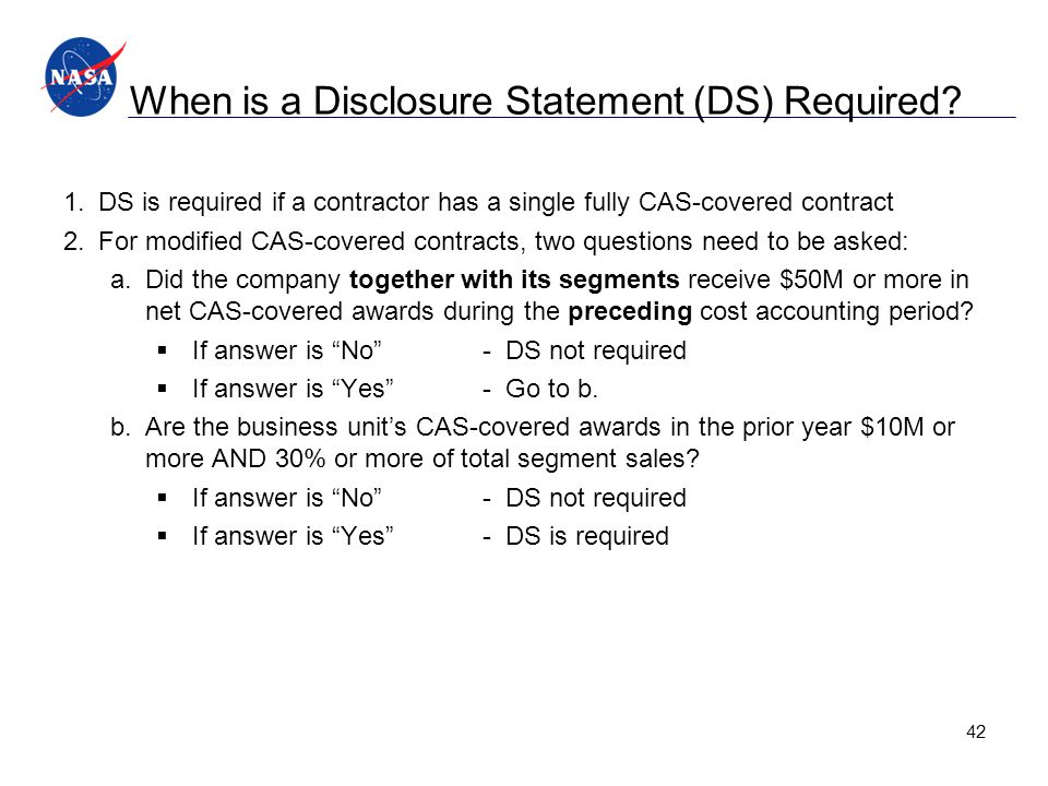When is a Disclosure Statement (DS) Required