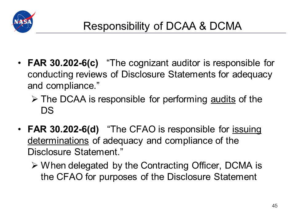 Responsibility of DCAA & DCMA