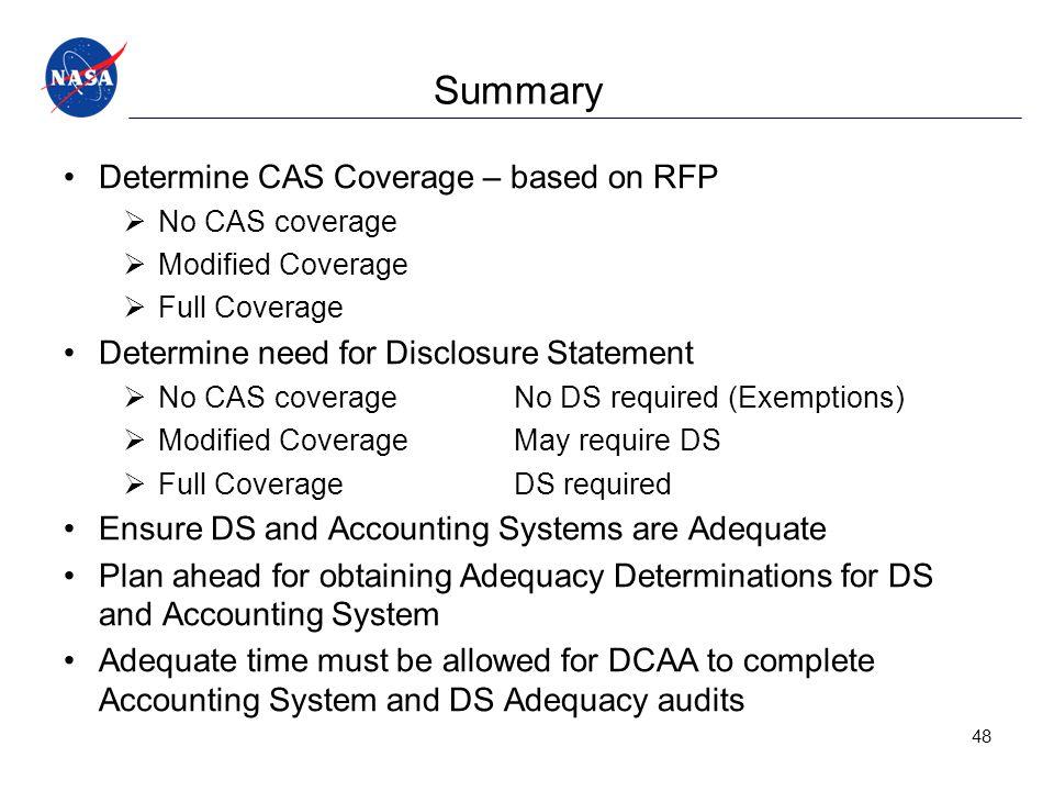 Summary Determine CAS Coverage – based on RFP