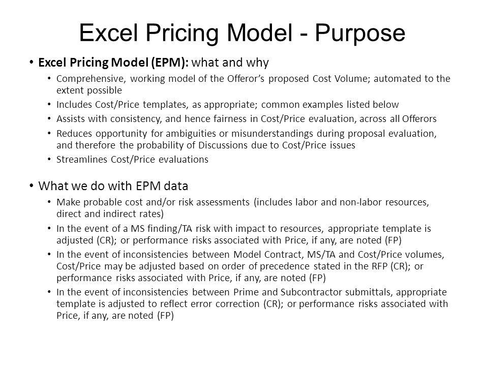 Excel Pricing Model - Purpose