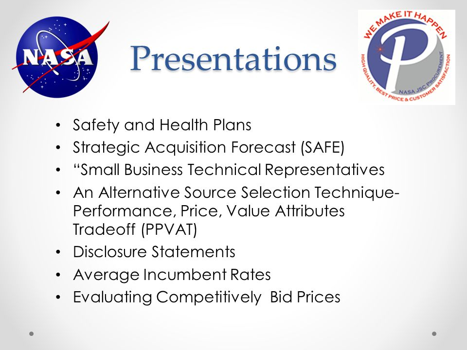 Presentations Safety and Health Plans