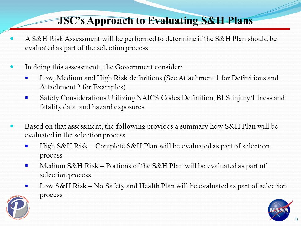 JSC's Approach to Evaluating S&H Plans