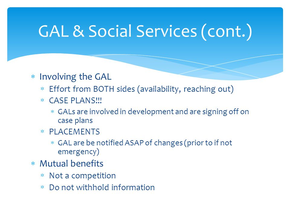GAL & Social Services (cont.)