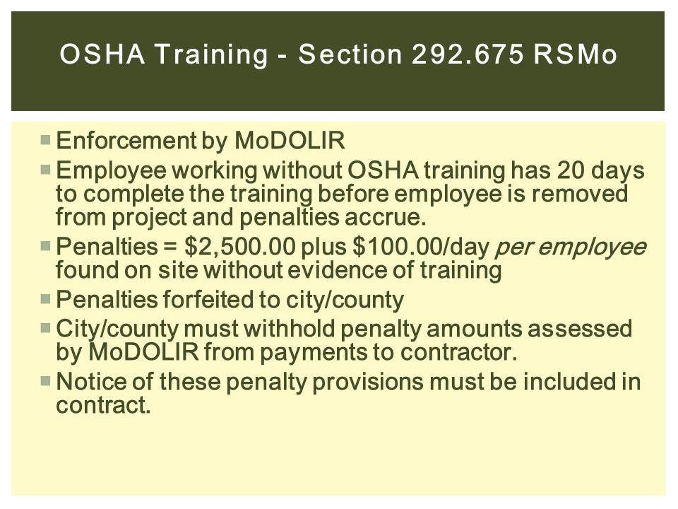 OSHA Training - Section 292.675 RSMo