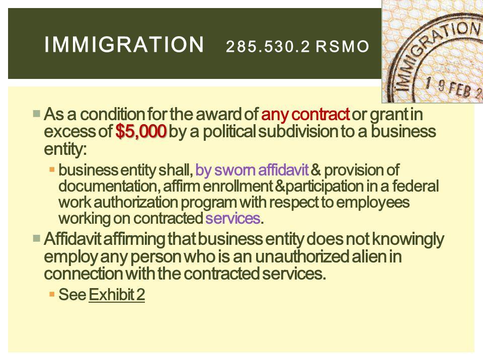 Immigration 285.530.2 RSMO