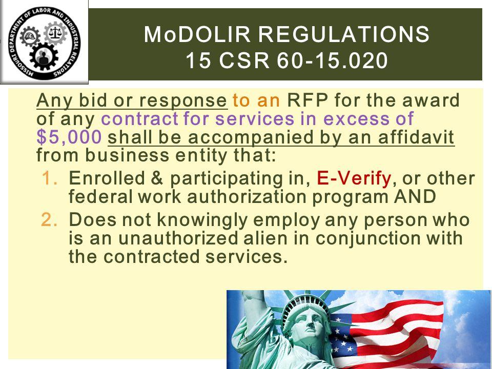 MoDOLIR Regulations 15 CSR 60-15.020