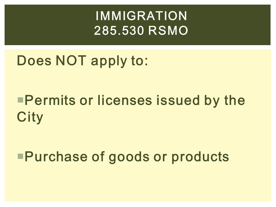 Permits or licenses issued by the City