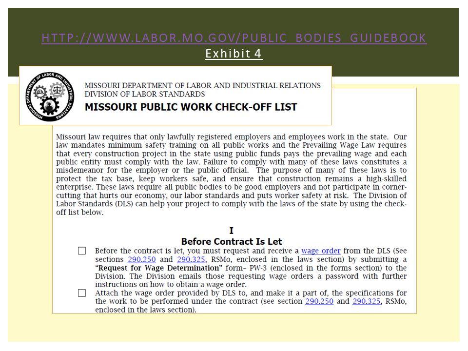 http://www.labor.mo.gov/Public_Bodies_Guidebook Exhibit 4