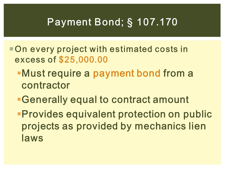 Must require a payment bond from a contractor