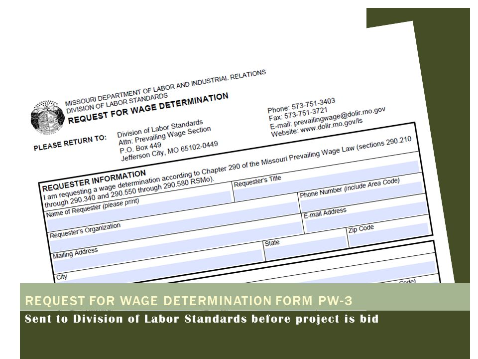 Request for wage determination form PW-3