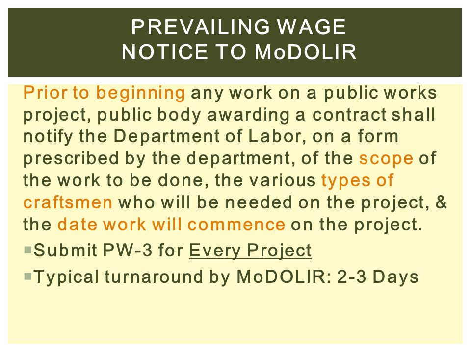 Prevailing wage Notice to MoDOLIR