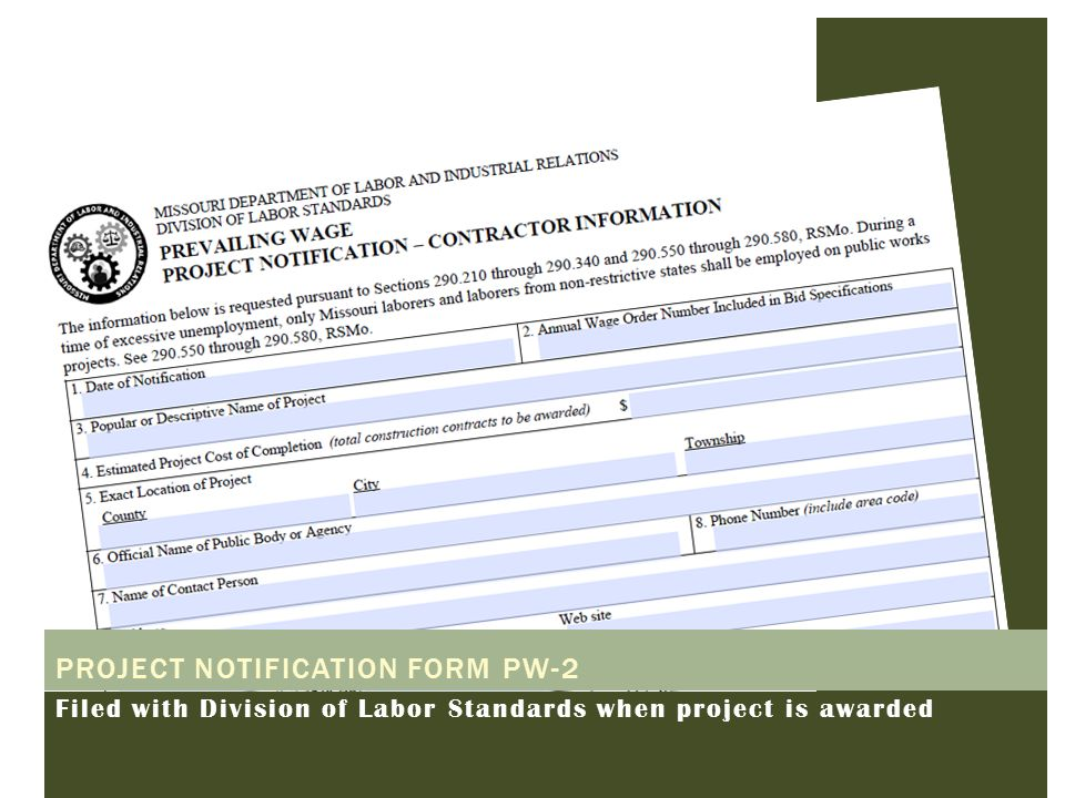 Project notification form PW-2