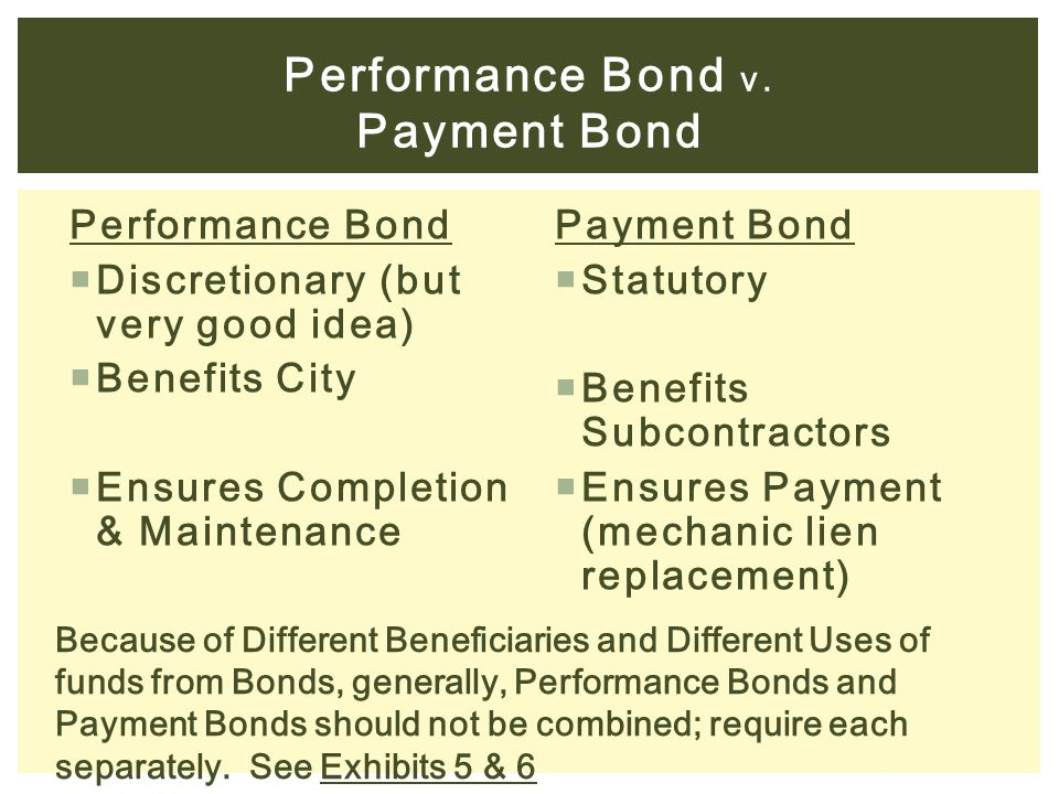 Performance Bond v. Payment Bond