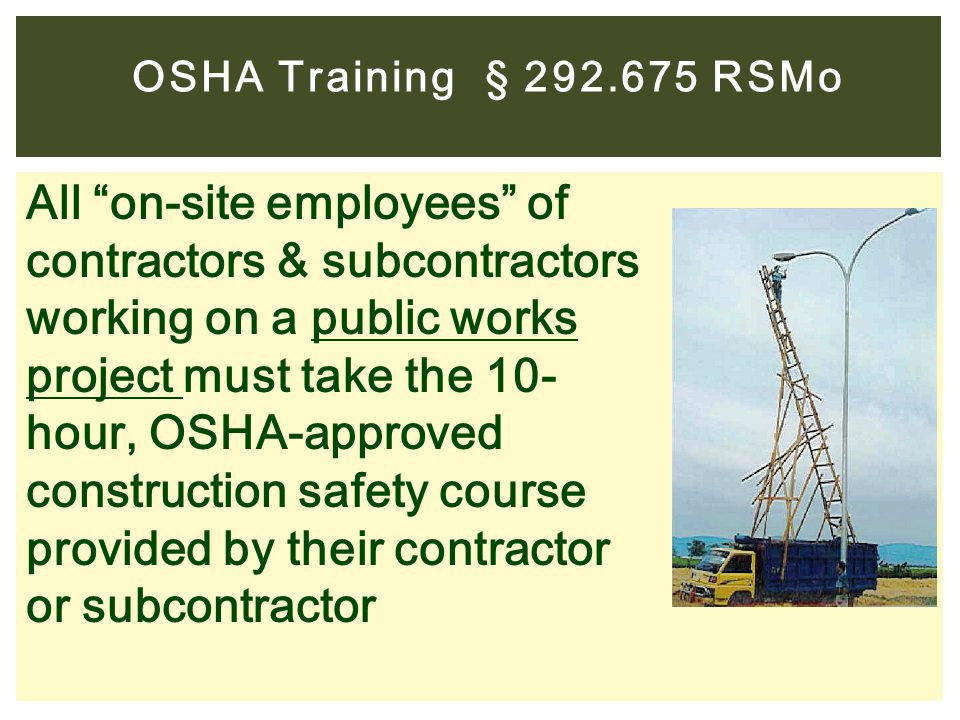 OSHA Training § 292.675 RSMo