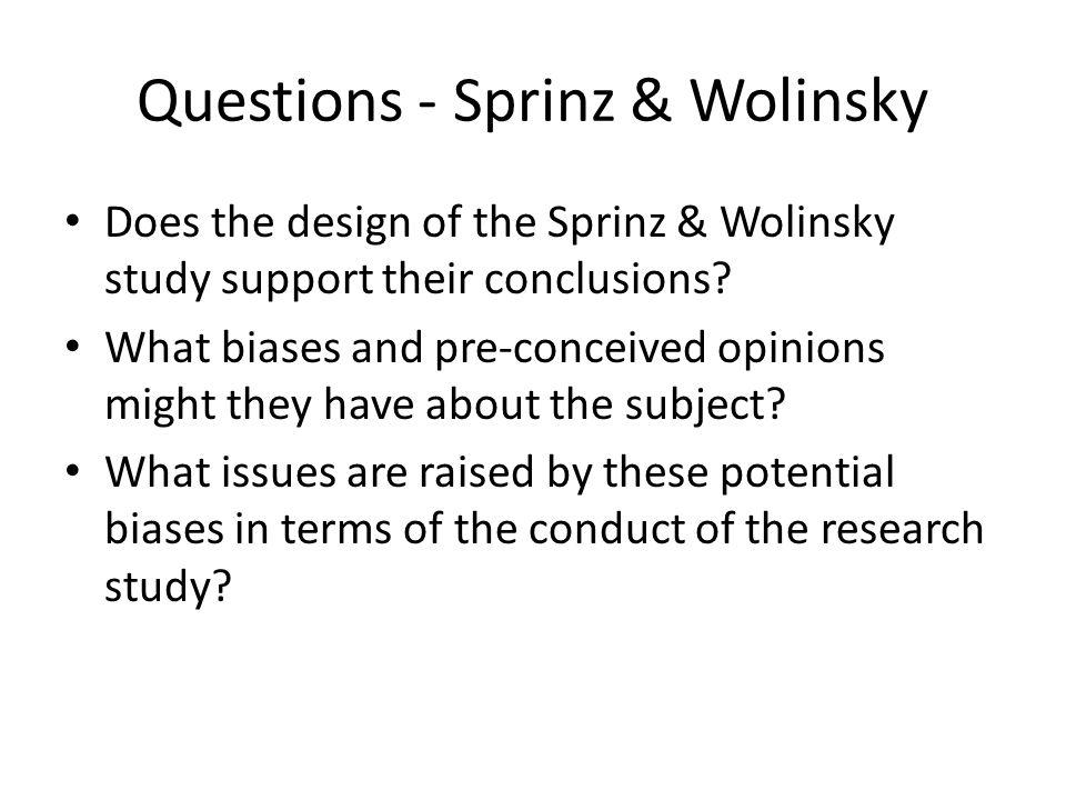 Questions - Sprinz & Wolinsky