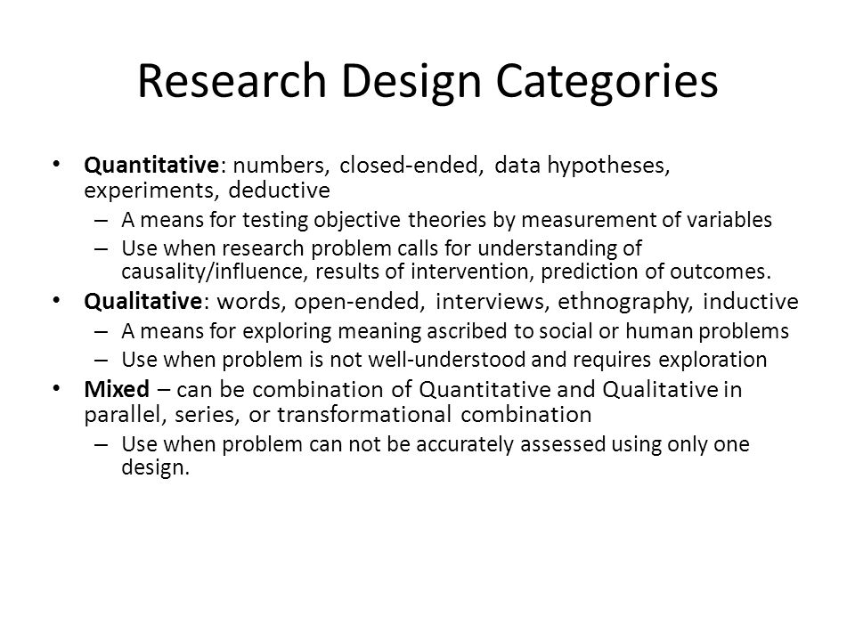 Research Design Categories