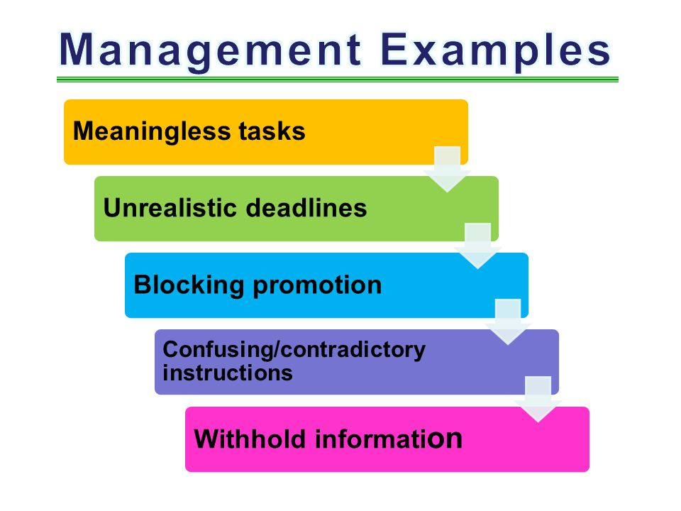Management Examples Meaningless tasks Unrealistic deadlines