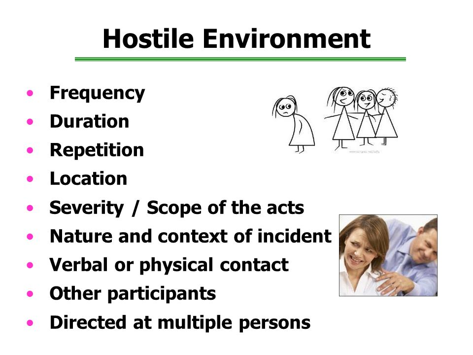 Hostile Environment Frequency Duration Repetition Location