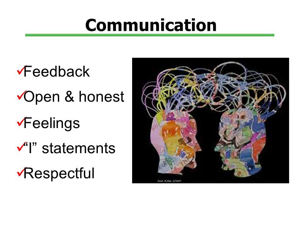 Communication Feedback Open & honest Feelings I statements