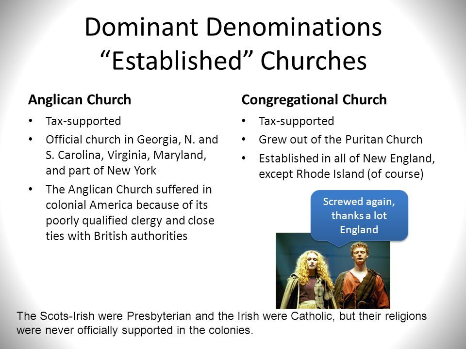 Dominant Denominations Established Churches