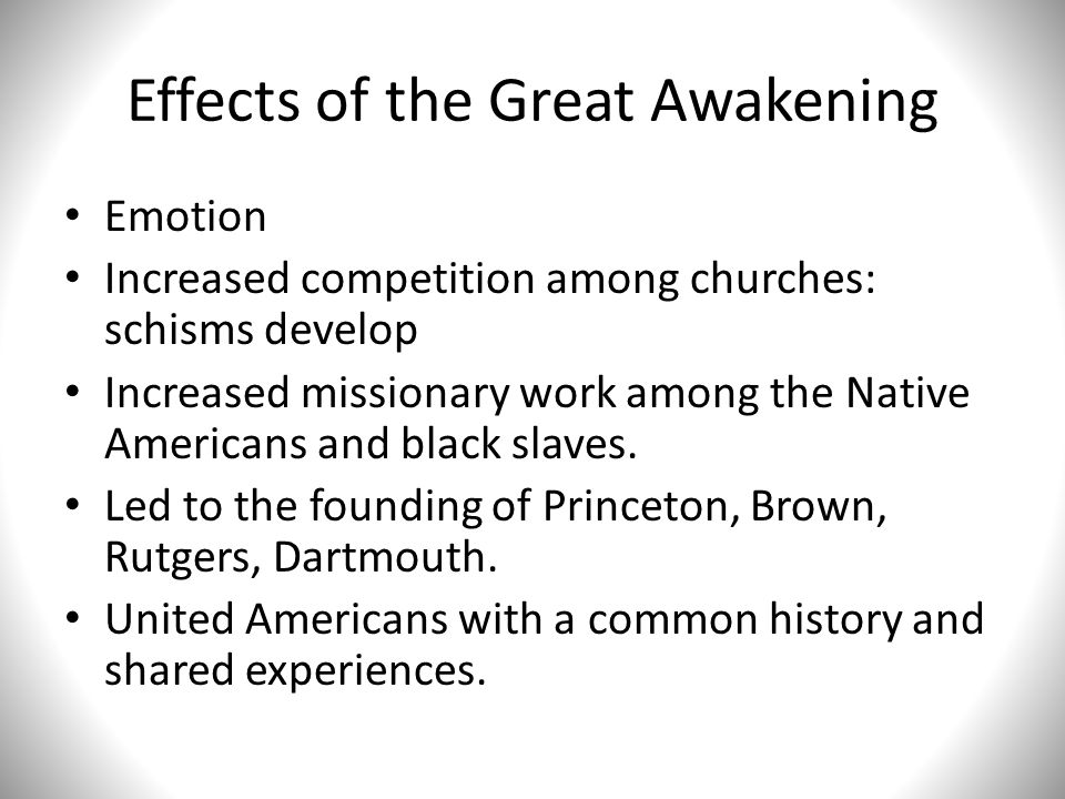 Effects of the Great Awakening