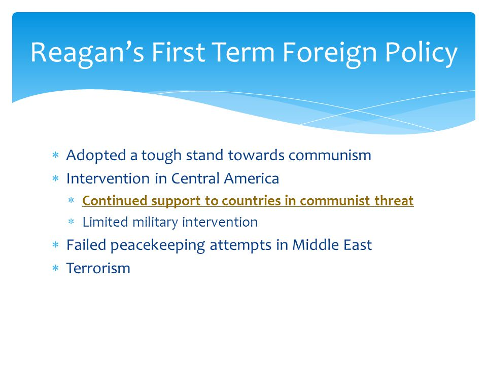 Reagan's First Term Foreign Policy
