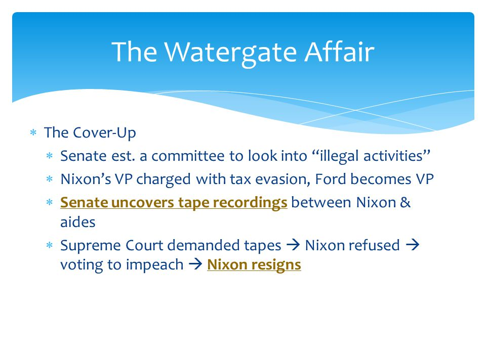 The Watergate Affair The Cover-Up