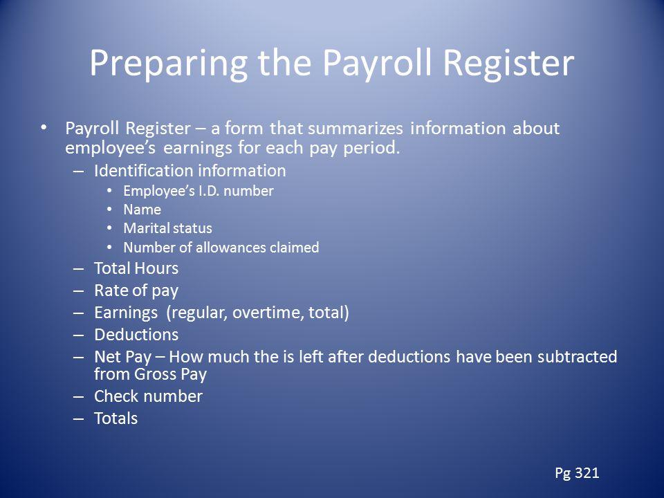 Preparing the Payroll Register
