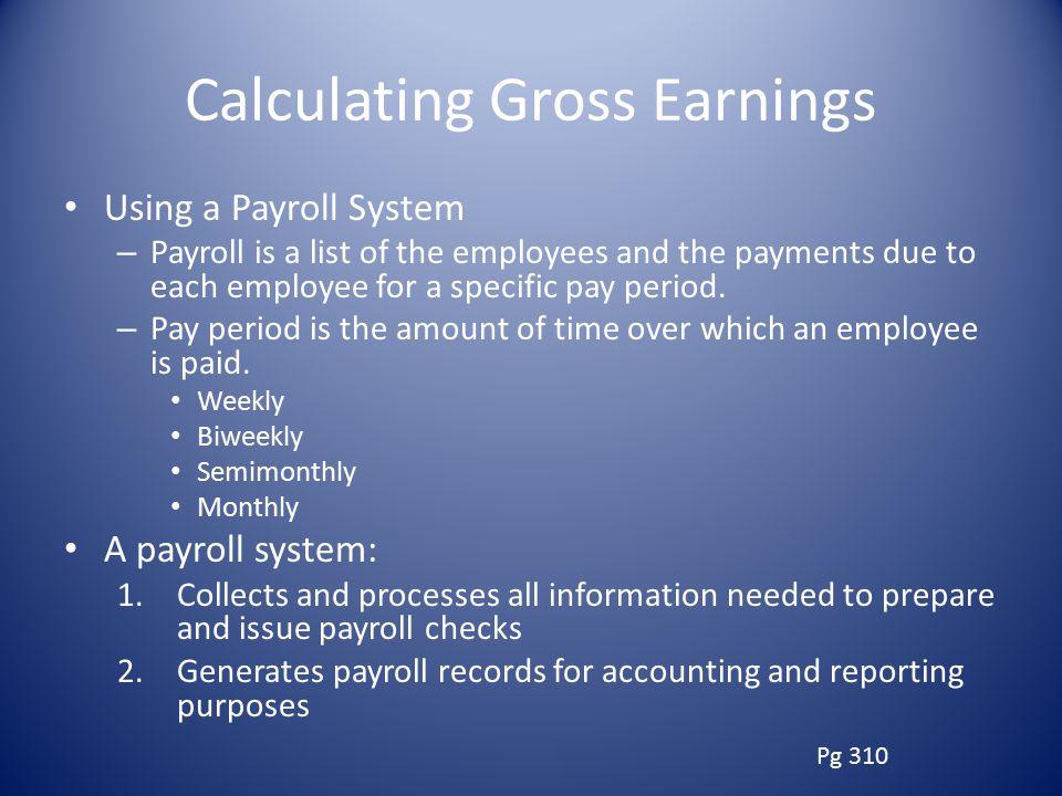 Calculating Gross Earnings