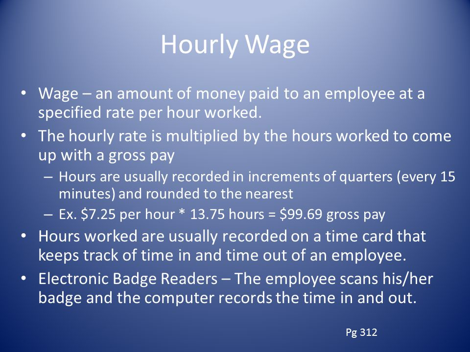 Hourly Wage Wage – an amount of money paid to an employee at a specified rate per hour worked.