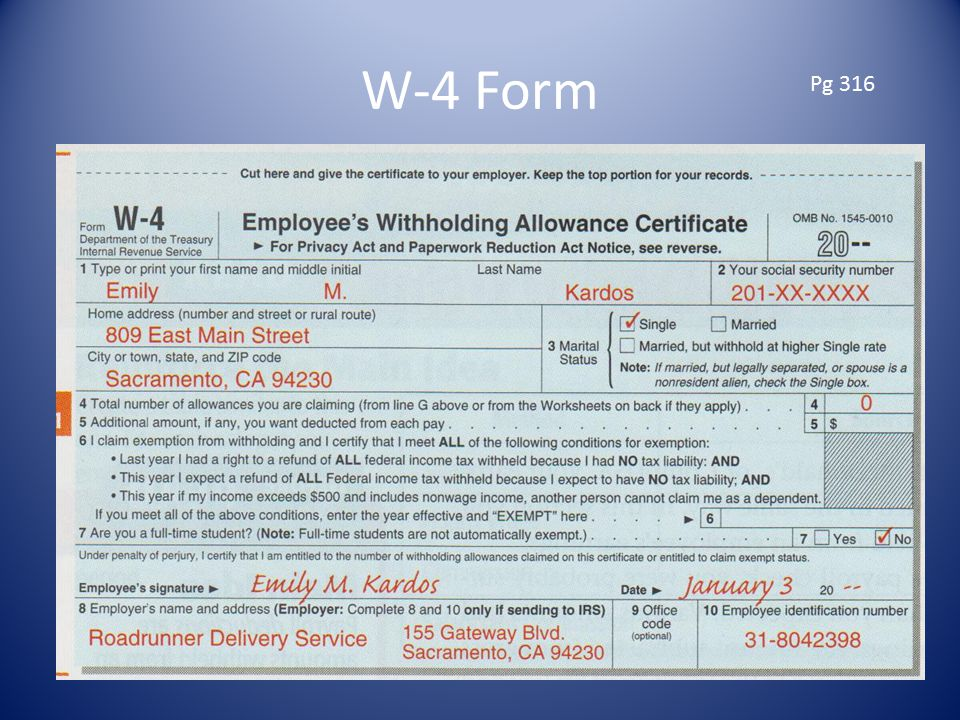W-4 Form Pg 316