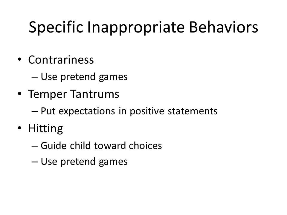 Specific Inappropriate Behaviors