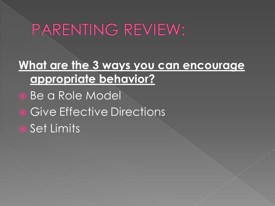 PARENTING REVIEW: What are the 3 ways you can encourage appropriate behavior Be a Role Model. Give Effective Directions.