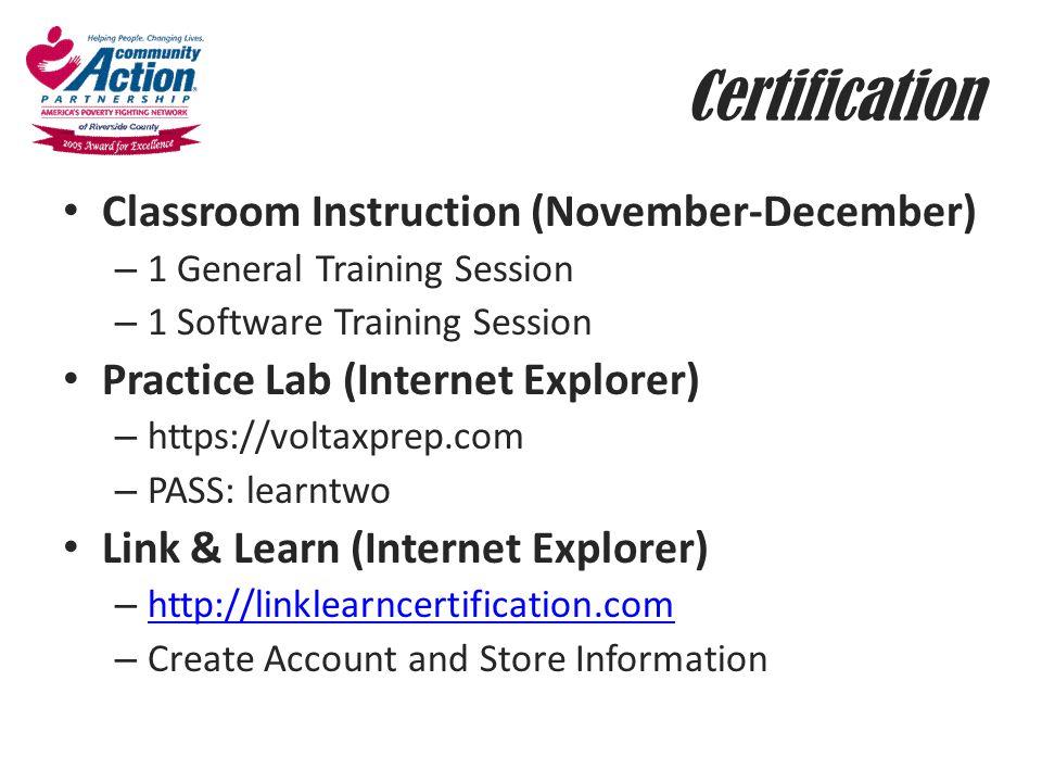 Certification Classroom Instruction (November-December)