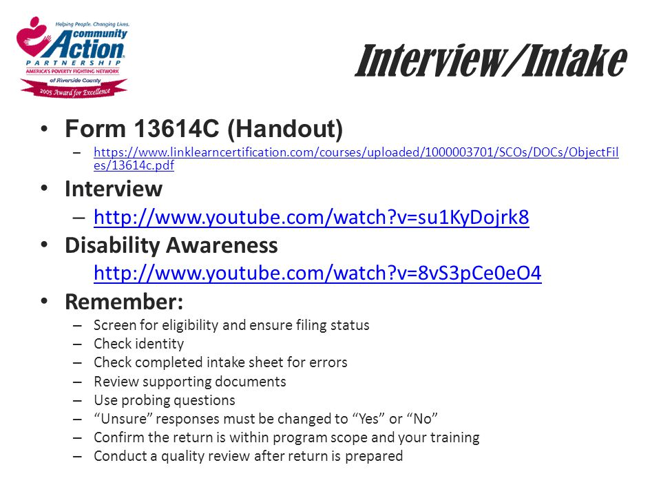 Interview/Intake Form 13614C (Handout) Interview Disability Awareness