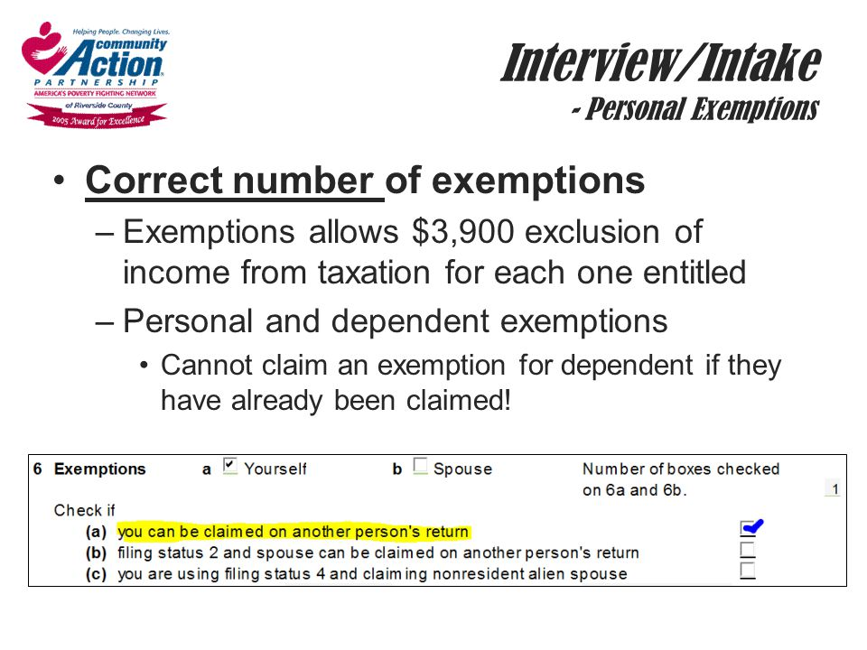 Interview/Intake - Personal Exemptions