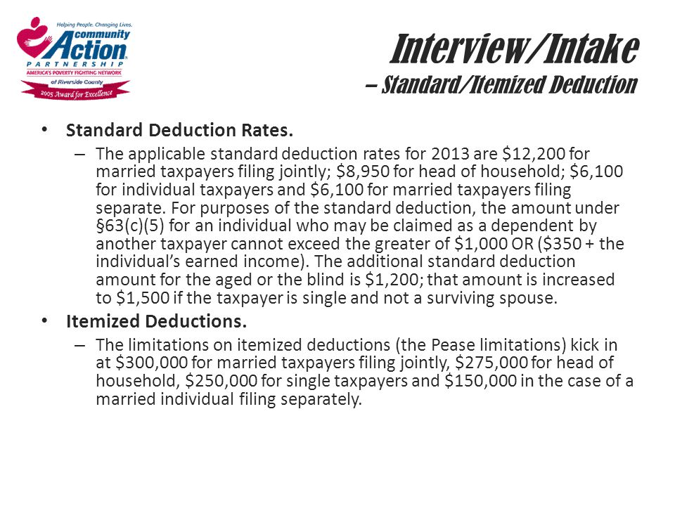 Interview/Intake – Standard/Itemized Deduction