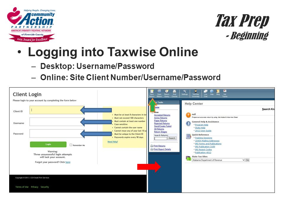 Tax Prep - Beginning Logging into Taxwise Online