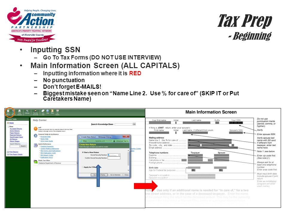 Tax Prep - Beginning Inputting SSN