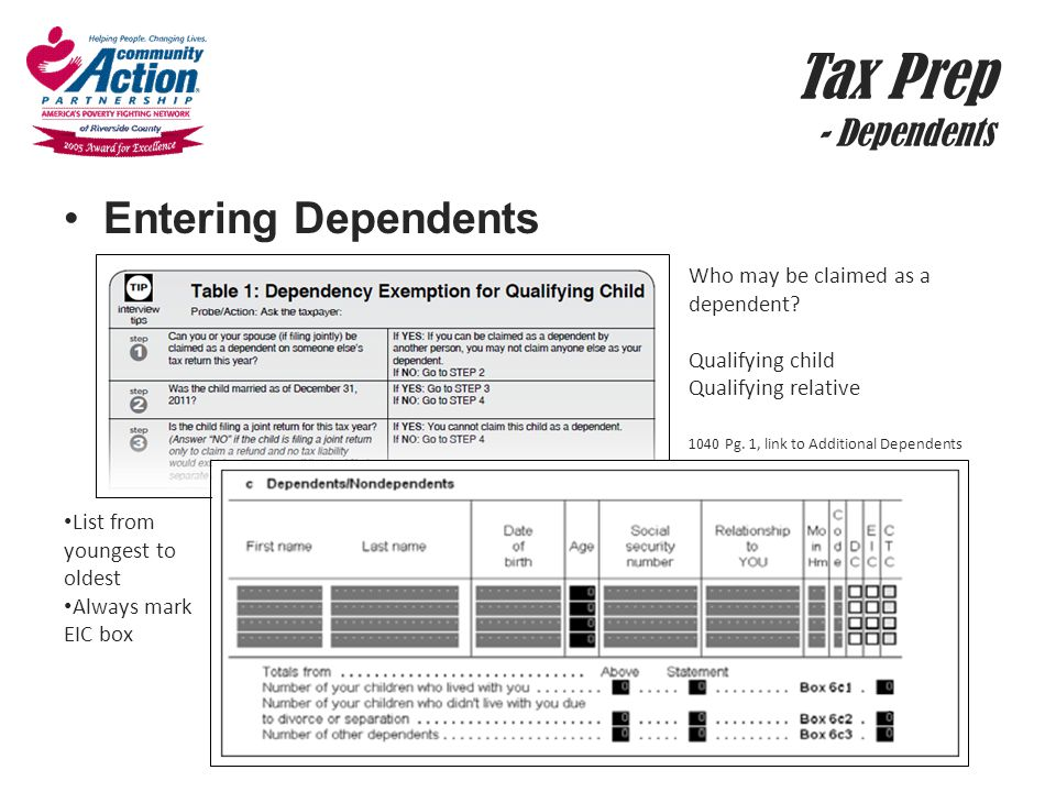 Tax Prep - Dependents Entering Dependents