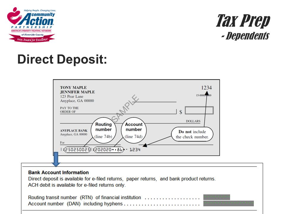 Tax Prep - Dependents Direct Deposit: