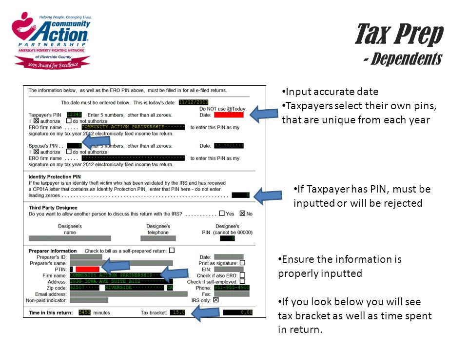 Tax Prep - Dependents Input accurate date