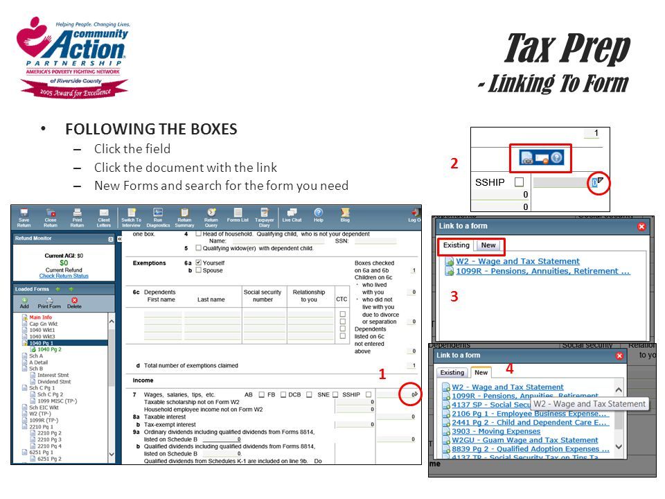 Tax Prep - Linking To Form