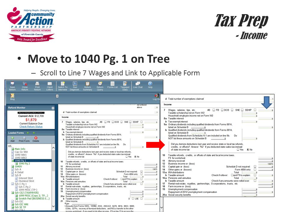 Tax Prep - Income Move to 1040 Pg. 1 on Tree