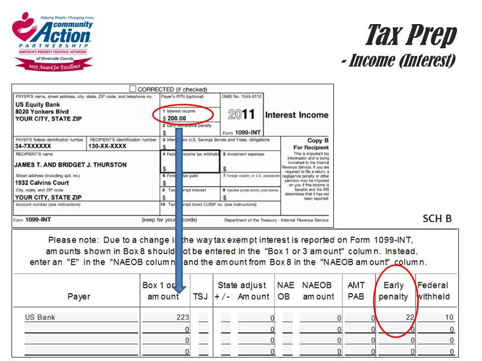 Tax Prep - Income (Interest)