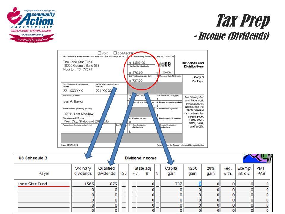 Tax Prep - Income (Dividends)