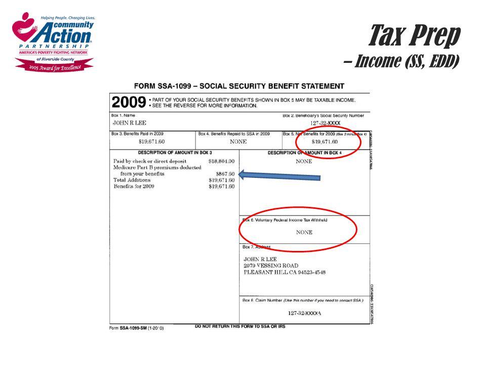 Tax Prep – Income (SS, EDD)