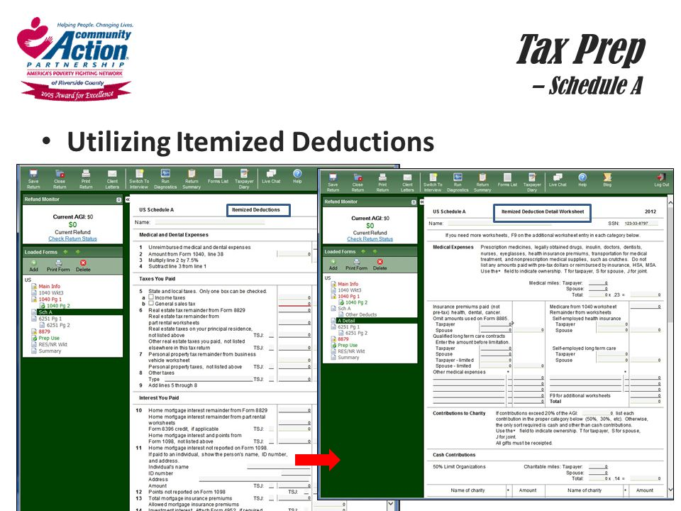 Tax Prep – Schedule A Utilizing Itemized Deductions