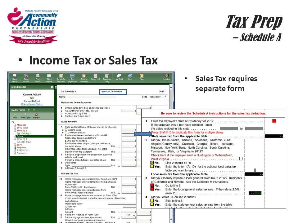 Tax Prep – Schedule A Income Tax or Sales Tax