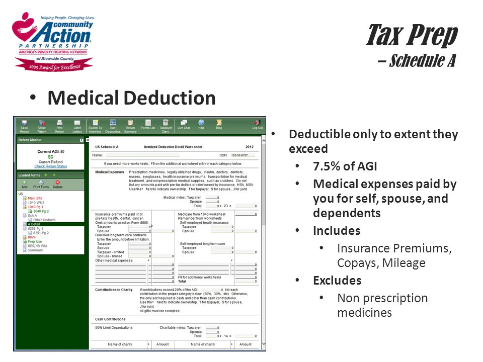 Tax Prep – Schedule A Medical Deduction